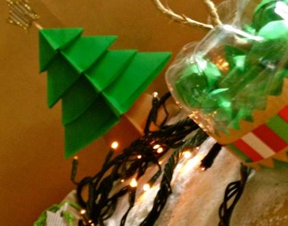 origami natalizi palline di plastica riciclata