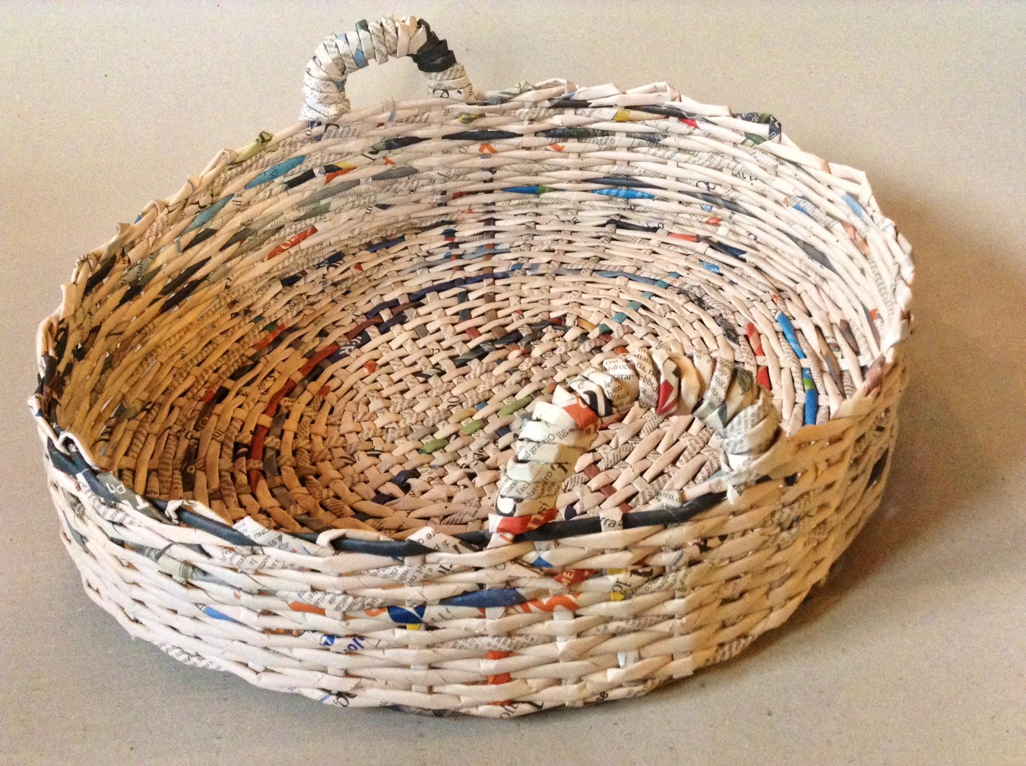 Amato cesta di carta tonda con manici | La Pepa LF06